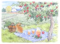 リンゴの木とニンジン畑 うさぎの訪問 水彩イラスト 02723000009| 写真素材・ストックフォト・画像・イラスト素材|アマナイメージズ