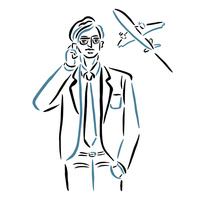 スマホで電話をするビジネスマン 02837000084  写真素材・ストックフォト・画像・イラスト素材 アマナイメージズ