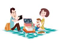 ピクニックをする小さい子供のいる若い夫婦 02837000165| 写真素材・ストックフォト・画像・イラスト素材|アマナイメージズ
