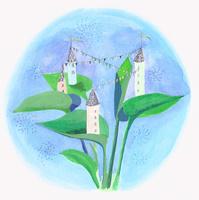 葉の上に建つ小さい西洋の家々 02837000234| 写真素材・ストックフォト・画像・イラスト素材|アマナイメージズ