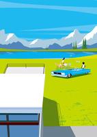 湖のある高原でピクニックを楽しむカップルと犬 02837000466| 写真素材・ストックフォト・画像・イラスト素材|アマナイメージズ