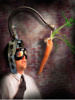 Businessman with Carrot Dangled In Front of Face 20025012379| 写真素材・ストックフォト・画像・イラスト素材|アマナイメージズ