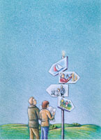 Illustration of Couple Looking At Sign with Different Lifest 20025028404| 写真素材・ストックフォト・画像・イラスト素材|アマナイメージズ