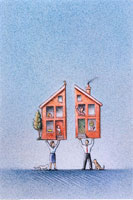 Illustration of Man and Woman Holding a Divided House 20025029040| 写真素材・ストックフォト・画像・イラスト素材|アマナイメージズ