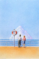 Illustration of Couple Looking Out at Water 20025031211| 写真素材・ストックフォト・画像・イラスト素材|アマナイメージズ