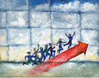 Illustration of Business People Climbing Bar Graph 20025116126| 写真素材・ストックフォト・画像・イラスト素材|アマナイメージズ