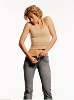 Woman Zipping Jeans