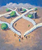 Dominoes throughout City 20025234944  写真素材・ストックフォト・画像・イラスト素材 アマナイメージズ
