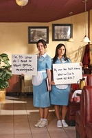 Waitresses Holding Signs Written with Health-Related Questio 20025305244| 写真素材・ストックフォト・画像・イラスト素材|アマナイメージズ