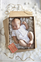 High Angle View of Newborn Baby Girl in a White Onesie in a Shipping Box Labeled as a Special Delivery with Packing Foam and Twi 20025313232| 写真素材・ストックフォト・画像・イラスト素材|アマナイメージズ