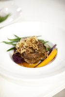 Close-up of beef entree, elegant dinner at wedding reception, Ontario, Canada