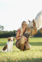 Close-up portrait of a young woman with her Haflinger horse and her Kooikerhondje puppy in summer, Upper Palatinate, Bavaria, Ge 20025320113| 写真素材・ストックフォト・画像・イラスト素材|アマナイメージズ