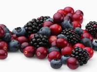 Cranberries blackberries and blueberries on a white background 20025327304| 写真素材・ストックフォト・画像・イラスト素材|アマナイメージズ