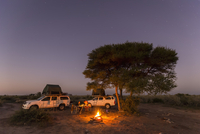 Botswana, Kalahari, Central Kalahari Game Reserve, campsite with campfire under starry sky 20025331558| 写真素材・ストックフォト・画像・イラスト素材|アマナイメージズ