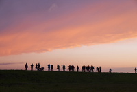 Germany, Zingst, silhouettes of birdwatchers at Barther Bodden in evening twilight 20025331662| 写真素材・ストックフォト・画像・イラスト素材|アマナイメージズ
