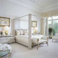 MASTER BEDROOM - Elegant, modern. Four poster bed. Beige tones through out, wall to wall carpeting, large windows, elaborate swa 20025340894| 写真素材・ストックフォト・画像・イラスト素材|アマナイメージズ