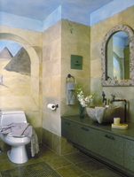 BATHROOM - Carved granite bowl, bird faucets,  stone mosaic mirror,trompe l'oeil , faux painted pyramids and stone walls, stone 20025340915| 写真素材・ストックフォト・画像・イラスト素材|アマナイメージズ