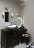 MASTER BATHROOMS: furniture style cabinets with bowl sink, dressing table with moveable frosted edge mirror, jewelry, scarf on w 20025341003| 写真素材・ストックフォト・画像・イラスト素材|アマナイメージズ