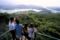 Tourists looking at panorama from canopy tower, Soberania Forest National Park, Gamboa, Panama, Central America 20025359324| 写真素材・ストックフォト・画像・イラスト素材|アマナイメージズ