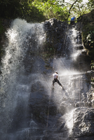 Rappelling on Juan Curi waterfall, adventure sports capital of Colombia, San Gil, Colombia, South America 20025365486| 写真素材・ストックフォト・画像・イラスト素材|アマナイメージズ