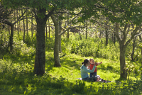 Young mother and inquisitive one year old toddler son in a woodland, Cutteridge Wood, Devon, England, United Kingdom, Europe 20025371862| 写真素材・ストックフォト・画像・イラスト素材|アマナイメージズ