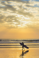 Surfer with long board at sunset on popular Playa Guiones surf beach, Nosara, Nicoya Peninsula, Guanacaste Province, Costa Rica,