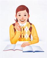 勉強する少女 20037000481| 写真素材・ストックフォト・画像・イラスト素材|アマナイメージズ
