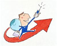 矢印の上を歩くビジネスマン 20037001053| 写真素材・ストックフォト・画像・イラスト素材|アマナイメージズ