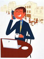 携帯で話すビジネスマン 20037001361| 写真素材・ストックフォト・画像・イラスト素材|アマナイメージズ