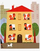 マンションに住む人々 20037001363  写真素材・ストックフォト・画像・イラスト素材 アマナイメージズ