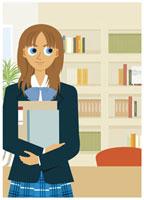 ノートを抱える女子学生 20037003414| 写真素材・ストックフォト・画像・イラスト素材|アマナイメージズ