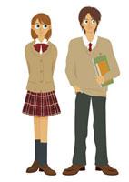 男子学生と女子学生 20037003415| 写真素材・ストックフォト・画像・イラスト素材|アマナイメージズ