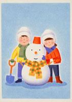 雪だるまと子供たち 20037003908| 写真素材・ストックフォト・画像・イラスト素材|アマナイメージズ