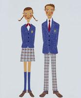 女子生徒と男子生徒 20037004295| 写真素材・ストックフォト・画像・イラスト素材|アマナイメージズ