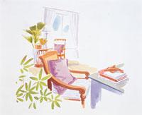 本が乗ったデスクと椅子 20037004488| 写真素材・ストックフォト・画像・イラスト素材|アマナイメージズ