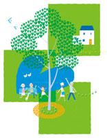 ハートの木と三世代家族 20037005392| 写真素材・ストックフォト・画像・イラスト素材|アマナイメージズ