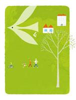 鳥とウォーキングをする家族 20037005403| 写真素材・ストックフォト・画像・イラスト素材|アマナイメージズ
