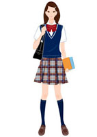 夏の制服を着て立つ女子学生 20037005447| 写真素材・ストックフォト・画像・イラスト素材|アマナイメージズ