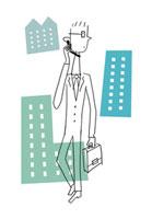 携帯電話で話をするビジネスマン 20037005478| 写真素材・ストックフォト・画像・イラスト素材|アマナイメージズ