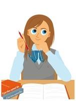 机で勉強をしている女子学生 20037006658| 写真素材・ストックフォト・画像・イラスト素材|アマナイメージズ