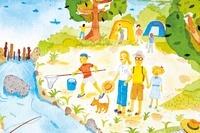 川で魚とりをする家族とキャンプをする家族 20037006725| 写真素材・ストックフォト・画像・イラスト素材|アマナイメージズ