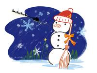 雪だるまとサンタを乗せたトナカイのそり 20037006862| 写真素材・ストックフォト・画像・イラスト素材|アマナイメージズ