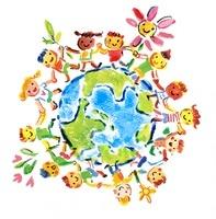 地球を囲んで手をつなぐ多国籍な子供たち 20037007161  写真素材・ストックフォト・画像・イラスト素材 アマナイメージズ