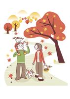 紅葉を楽しむ家族 20037008106| 写真素材・ストックフォト・画像・イラスト素材|アマナイメージズ