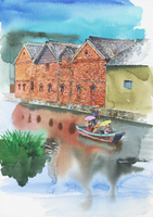 赤レンガ倉庫と運河のある風景 水彩 20037008287| 写真素材・ストックフォト・画像・イラスト素材|アマナイメージズ