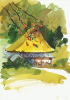 古民家のある風景 水彩 20037008296| 写真素材・ストックフォト・画像・イラスト素材|アマナイメージズ