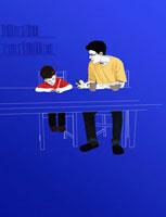 Mentor helping boy with homework 20039000231| 写真素材・ストックフォト・画像・イラスト素材|アマナイメージズ