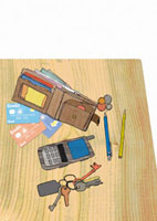 Wallet,credit cards,coins,cell phone and keys 20039000390  写真素材・ストックフォト・画像・イラスト素材 アマナイメージズ