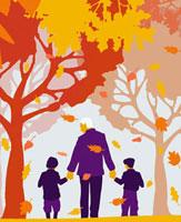 Grandfather and grandchildren walking under autumn trees 20039001167| 写真素材・ストックフォト・画像・イラスト素材|アマナイメージズ