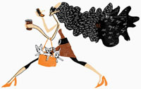 Glamorous woman walking and carrying dogs in bag 20039001916| 写真素材・ストックフォト・画像・イラスト素材|アマナイメージズ